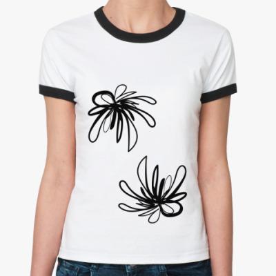 Женская футболка Ringer-T Абстрактные цветы