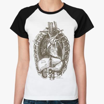 Женская футболка реглан Внутренние органы