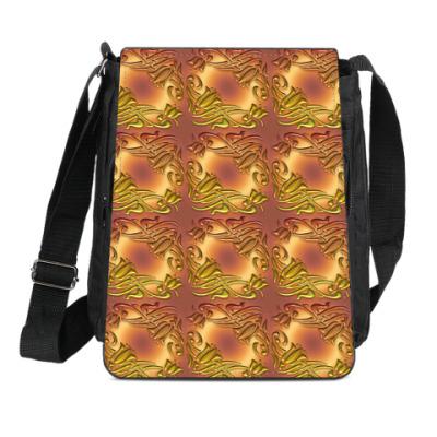 Сумка-планшет золотой Дамаск