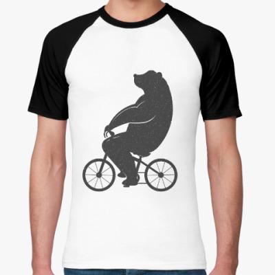 Футболка реглан Медведь на велосипеде