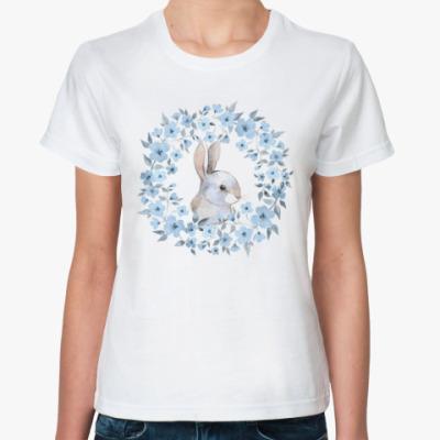 Классическая футболка Кролик и цветочный венок