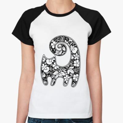Женская футболка реглан Кошка-хохлома