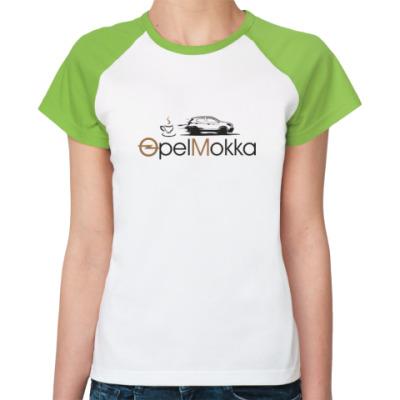 Женская футболка реглан Реглан Женская (бел/зел)