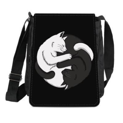 Сумка-планшет Черный и белый кот инь-ян