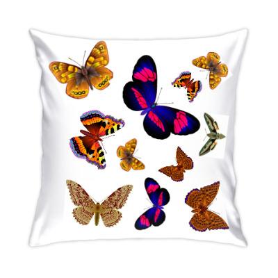 Подушка Цветов летящих радуга.