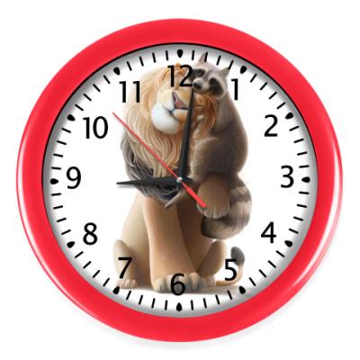 Настенные часы Счастливые Лев и Енот