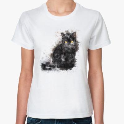 Классическая футболка Жил да был чёрный кот