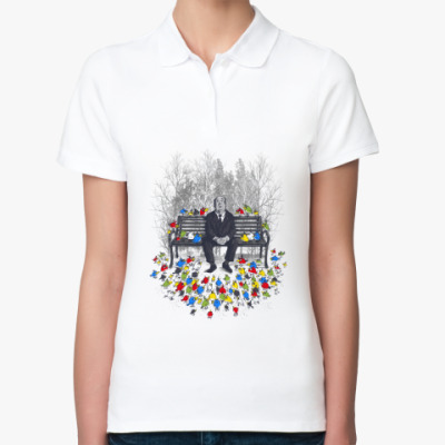 Женская рубашка поло Альфред Хичкок - птицы