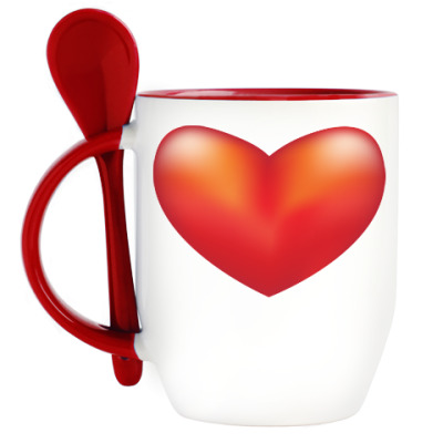 Кружка с ложкой Сердце с намеком