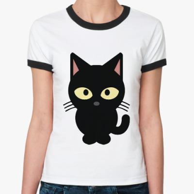 Женская футболка Ringer-T Черный Котик