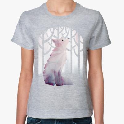 Женская футболка Зимний Лис в снегу Winter fox