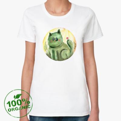 Женская футболка из органик-хлопка Кот Кактус, акварель