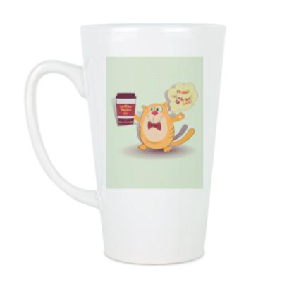Чашка Латте Кот, кофе и фраза Доброе утро!