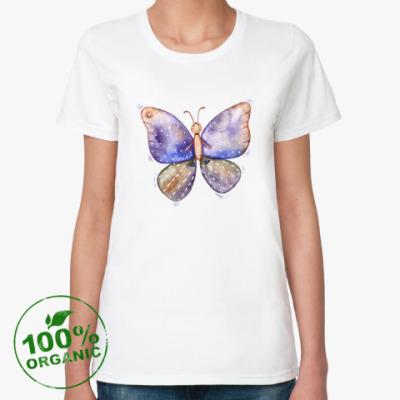Женская футболка из органик-хлопка Смешная бабочка