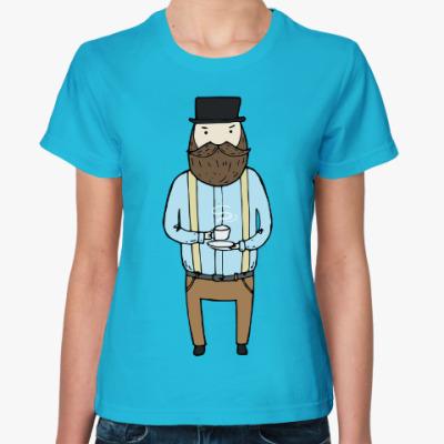 Женская футболка Джентльмен с чашечкой чая