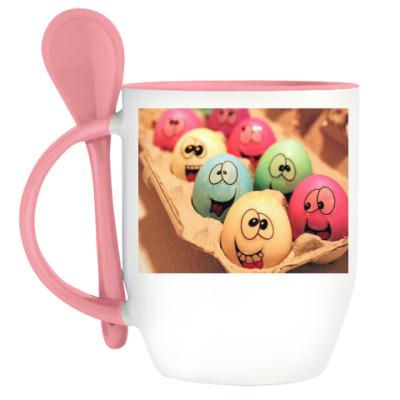 Кружка с ложкой Пасхальные яйца