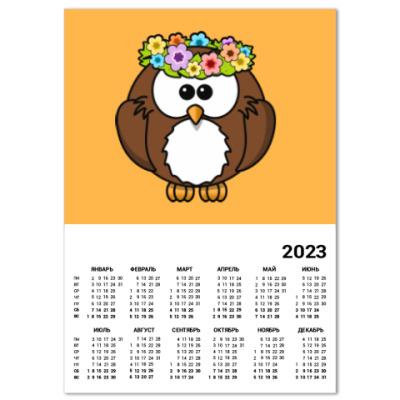 Календарь Сова с цветами