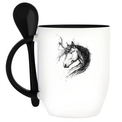 Кружка с ложкой Лохматый Единорог
