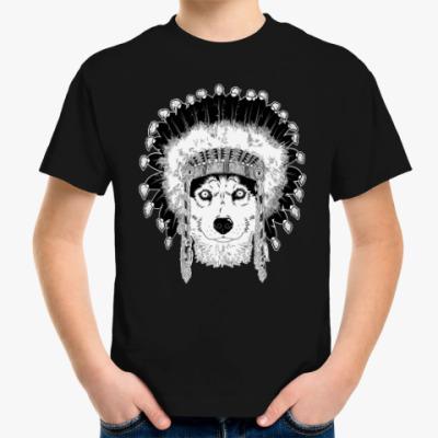 Детская футболка Хаски вождь