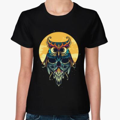 Женская футболка Сова на фоне Луны