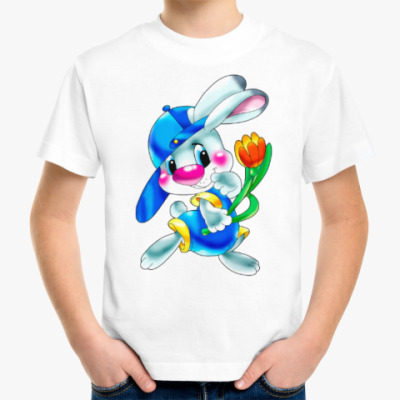 Детская футболка ЗАЯЦ С ТЮЛЬПАНОМ