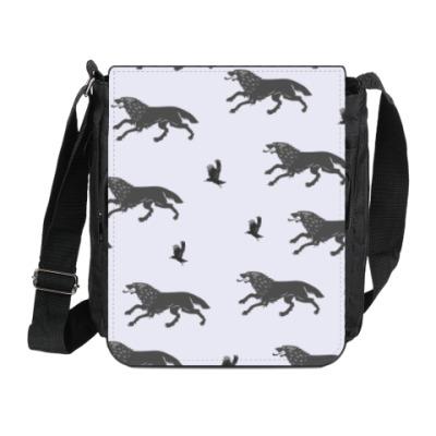 Сумка на плечо (мини-планшет) Волк Старков и ворон