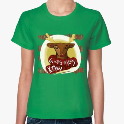 Женская футболка Новогодний олень в шарфике