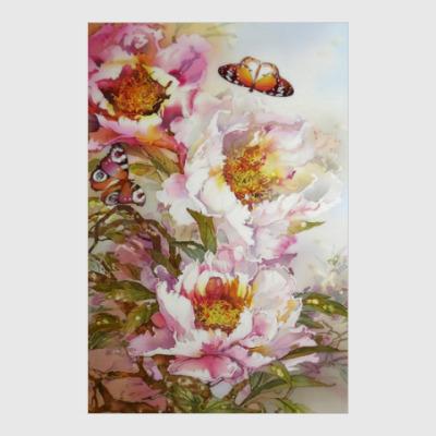 Постер Пионы и бабочки