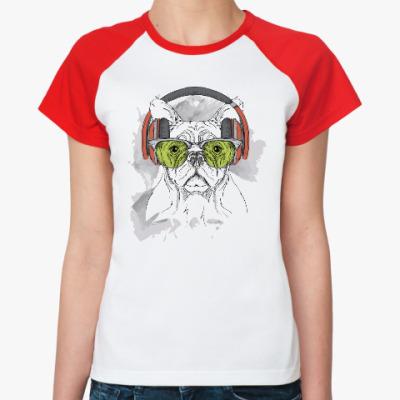 Женская футболка реглан Собака в зеленых очках