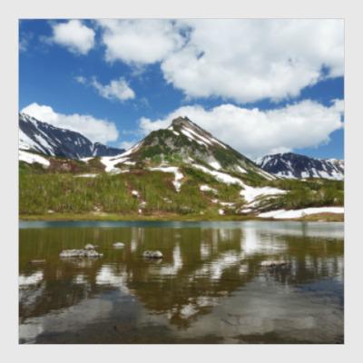 Постер Полуостров Камчатка, горы, горное озеро, отражение