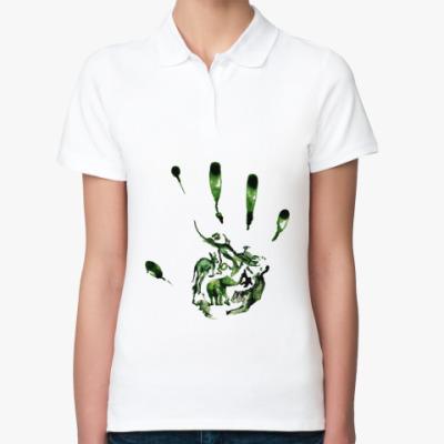 Женская рубашка поло Зеленый отпечаток
