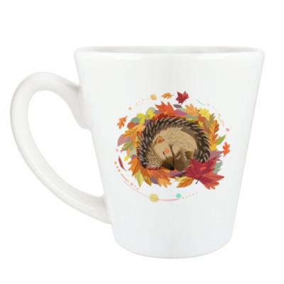 Чашка Латте Ежик в осенних листьях