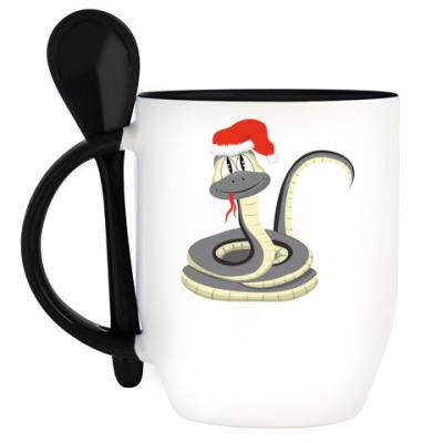 Кружка с ложкой Новогодняя змейка