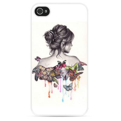 Чехол для iPhone Девушка с бабочками. Акварель