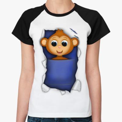 Женская футболка реглан Обезьяна