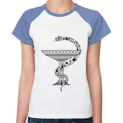 Женская футболка реглан Чаша со змеей