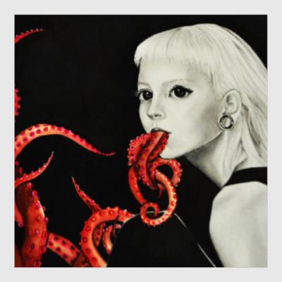 Постер Сюрреалистичный портрет девушки. Осьминоги, глаза