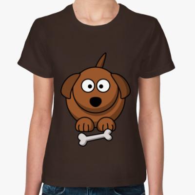 Женская футболка Собачка с косточкой