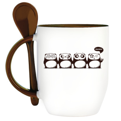 Кружка с ложкой Kiss Panda
