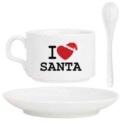 Кофейный набор Новогодний принт I Love Santa