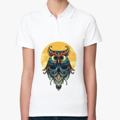 Женская рубашка поло Сова на фоне Луны