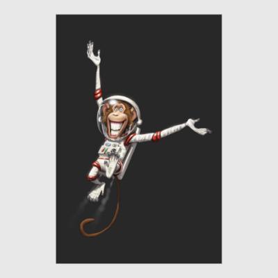 Постер Обезьянка Космонавт