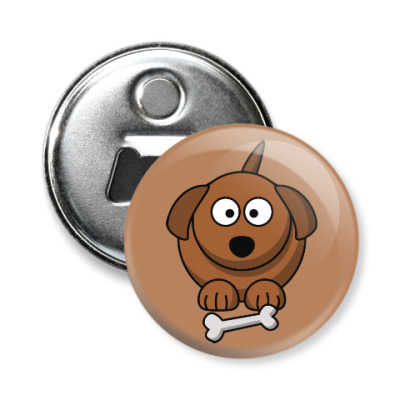 Магнит-открывашка Собачка с косточкой