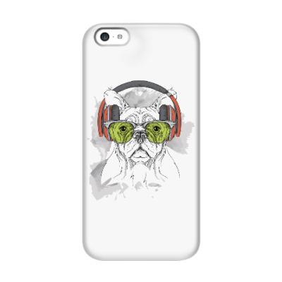 Чехол для iPhone 5c Собака в зеленых очках