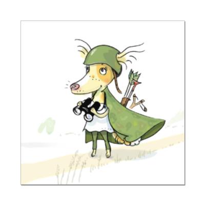 Наклейка (стикер) Собака - воин-пограничник