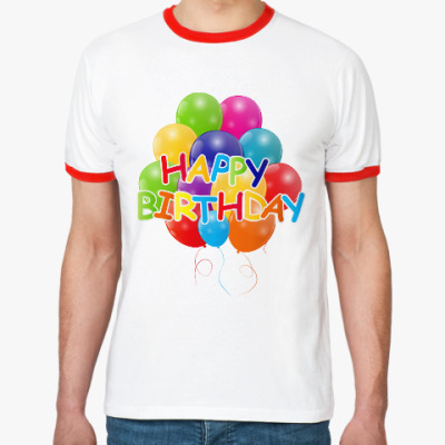Футболка Ringer-T Happy Birthday