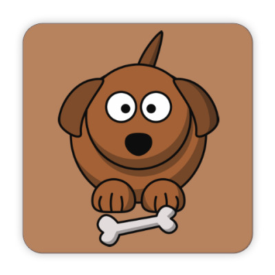 Костер (подставка под кружку) Собачка с косточкой