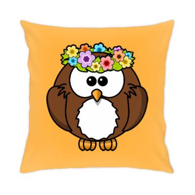 Подушка Сова с цветами