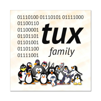 Наклейка (стикер) TUX family binary