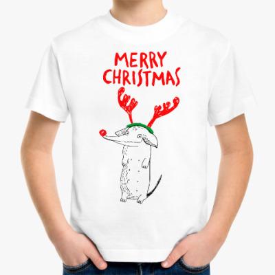 Детская футболка Новогодняя такса олень